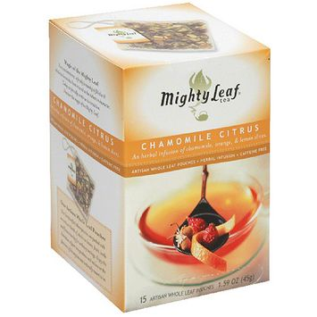 Mighty Leaf Whole Leaf Chamomile Citrus Tea Pouches, 15 count, (Pack of 6)