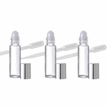 Grand Parfums 24 Roll On 10ml Aromatherapy Essential Oil Glass .33 Oz Roll-on Bottles with Silver Top - Great for Lip Gloss, Lip Balms Too