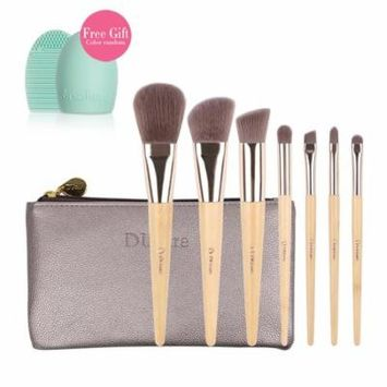 DUcare 7Pcs Eco Bamboo Makeup Brush kit with Pouch Bag Brushegg Gift