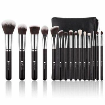 Makeup Brushes Kit Set, Ducare 15Pcs Natural Goat Synthetic Professional Foundation Powder Blending Contour Lip EyeShadow Brush with Leather Case Bag