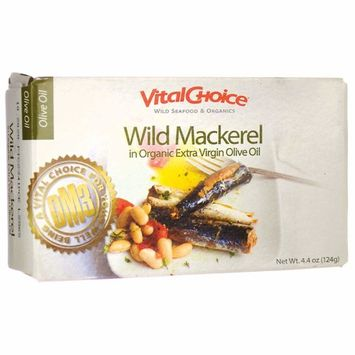 Vital Choice Wild Mackerel in Organic Extra Virgin Olive Oil 4.4 oz (124 Grams) Can