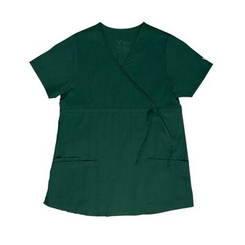 Vestex® Signature Stretch Women's Maternity Comfort Mock Wrap Solid Scrub Top Small Hunter Green