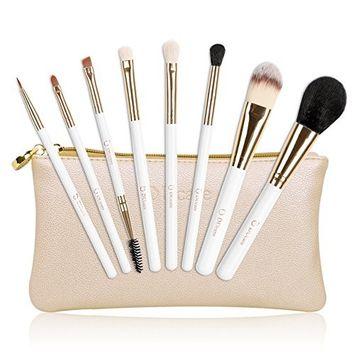 DUcare Makeup Brushes Set, 8 Piece Foundation Blush Kabuki Brush Blending Contouring Face Eye Eyeshadow Golden Makeup Brushes