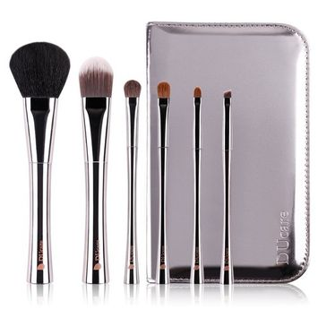DUcare 15 Pcs Pro Makeup Brush Set with Case and Travel Mirror Synthetic Eyeshadow Professional Kit