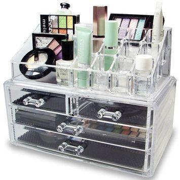 4 Layers Cosmetic Organizer Drawer Acrylic Jewellery Box Makeup Storage Case