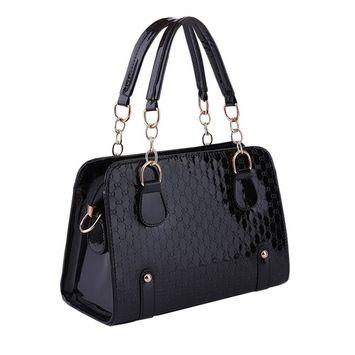 Women Tote Embossed Handbag Shoulder Bag PU leather Black Messenger Hobo Bag