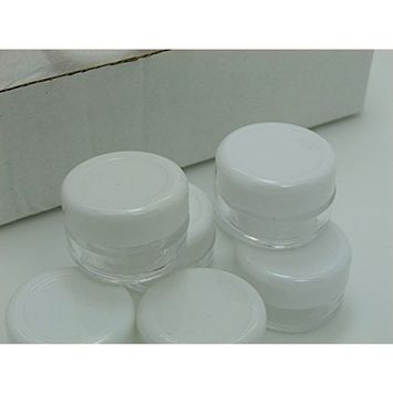 Grand Parfums 50 5g gram 5mL Empty Cosmetic Jars in Box, Lip blam, Lip Gloss, Clear with White Lids, Tiny Mini Pot High Quality Eyeshadow