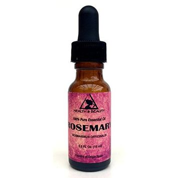 Rosemary Essential Oil Organic Aromatherapy Therapeutic Grade 100% Pure Natural 0.5 oz, 15 ml with Glass Dropper