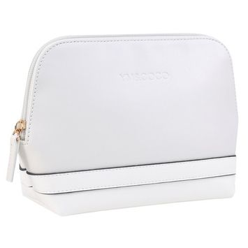 Cosmetic Bag, YM&COCO Leather Makeup Bag Portable Toiletry Travel Bag Pouch Case White