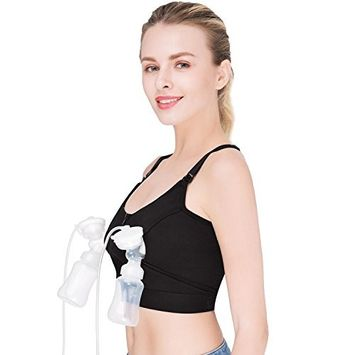 Hands Free Pumping Bra, Breastfeeding Bra, Wire-Free, Plus Size, with Or Without Strap of Breast Pumping Bra, Suitable for Breast Pumps by Medela,Lansinoh,Philips,Avent,Bellema,Spectra - Large