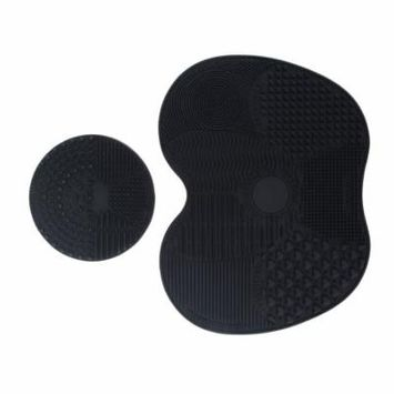 Set of 2 Makeup Brush Cleaning Mat Silicone Cosmetic Foundation Brush Washing Pad (Black)