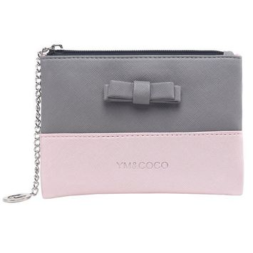 Cosmetic Pouch, YM&COCO Small Makeup Clutch Bag Handy Cosmetic Purse Organizer for Girls Ladies Pink-grey