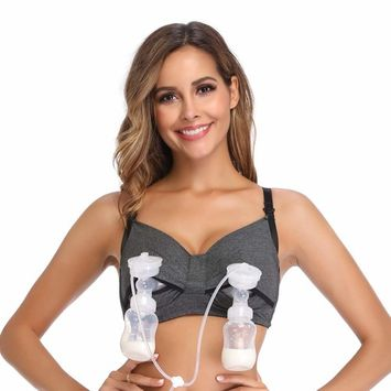 Hands Free Pumping Bra, Breastfeeding Bra, Pump&Nurse Nursing Bra,Adjustable and Wire Free, Suitable for Breast Pumps by Medela,Lansinoh,Philips,Avent,Bellema,Spectra,Bellababy, S-XL, L, Grey