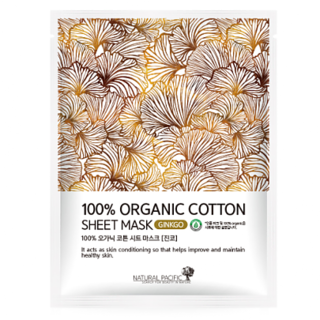 NATURAL PACIFIC - 100% Organic Cotton Sheet Mask Ginkgo 1pc 25g