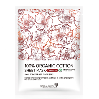 NATURAL PACIFIC - 100% Organic Cotton Sheet Mask Camellia 1pc 25g