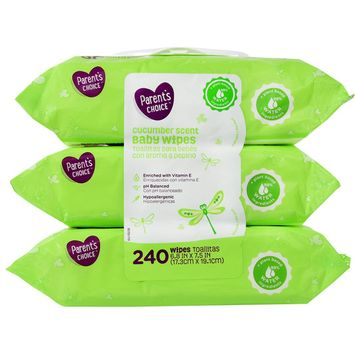 Parent's Choice Cucumber Scent Baby Wipes, 3 packs of 80 (240 ct)