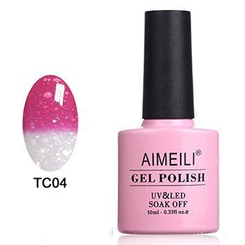 AIMEILI Soak Off UV LED Temperature Color Changing Chameleon Gel Nail Polish - Hot Pink to Glitter White (TC04) 10ml