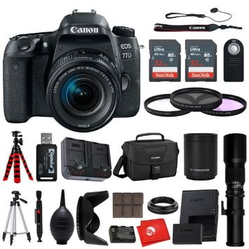 Circuit City Canon EOS 77D DSLR Camera 18-55mm EF-S Kit with 55-250mm f/4-5.6 IS STM Telephoto Lens + Advanced Photo + Travel Bundle