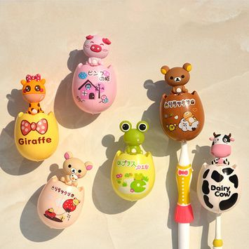 Creative Cartoon Animal Design Toothbrush Holders Children Suction Cup Type