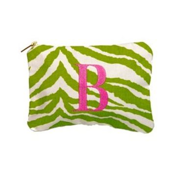 Lime Green Zebra Cosmetic Bag and Jewelry Bag