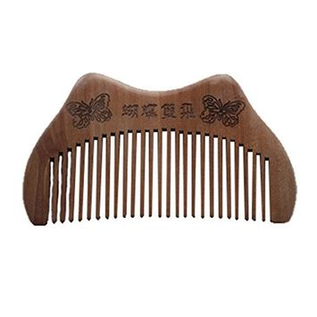 SODIAL Wood Design Butterfly Hair Care Hand Crafts Comb 9.5cm Long Wood-Color