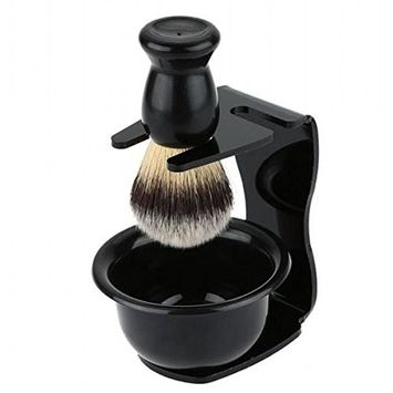 SODIAL Men's Shaving Removal Hair Shaving Brush Holder + Badger Shaving Brush + Bowl Soap