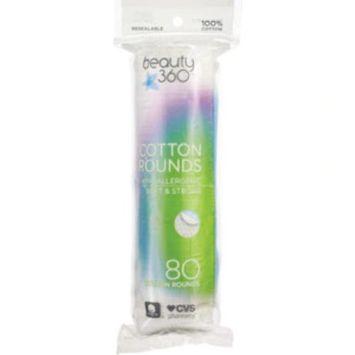 Beauty 360 Cotton Rounds, 80CT