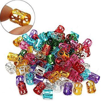 Coobbar 100Pcs Hair Braid Bead Dreadlock Beads Micro Rings Link Adjustable Hair Braids Cuff Clip
