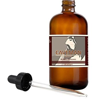 Caveman Peppermint Pine Beard Oil, Leave in Conditioner, 2oz Glass Bottle and Dropper