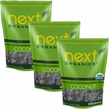 Organic Dried Coconut Smiles by Next Organics, 6 Oz, Value Pack of 3