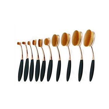 EYX Formula Professional 10 Pcs Rose Gold Makeup Brushes Round Blush Brush,Foudation Brushes Powder Brush Cosmetic Brushes Set for Facial Beauty