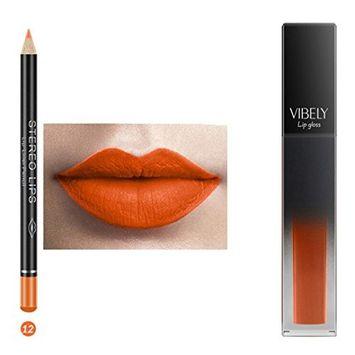 Hunputa Lip Gloss,Professional New 12 Color Matte Mist Face Don't Stick Cup Lip Gloss Liquid Labial Line Pen Suit