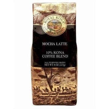 Royal Kona - Mocha Latte - 10% Kona Coffee Blend - All Purpose Grind - 8 Oz. Bag