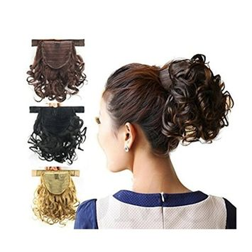 Better-Home Women Short Screw Curly Velcro Strap Ponytails Hairpiece Hair Extensions with Clip in