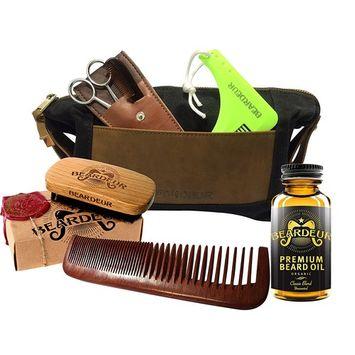 Ultimate Men's Beard Grooming Set With Boar Bristle Brush, Comb, Mustache Comb, Conditioner & Premium Toiletry Bag & BONUS Beard Trimming Scissors...