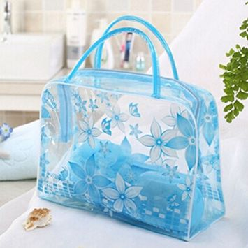 DatingDay Transparent PVC Flower Clear Cosmetic Travel Bag Pouch Waterproof Makeup Toiletry (Blue)