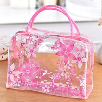 DatingDay Transparent PVC Flower Clear Cosmetic Travel Bag Pouch Waterproof Makeup Toiletry (Pink)