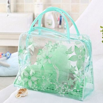 DatingDay Transparent PVC Flower Clear Cosmetic Travel Bag Pouch Waterproof Makeup Toiletry (Green)