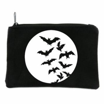 Full Moon with Vampire Bats Flying Cosmetic Makeup Bag Pouch Alternative Gothic Accessories