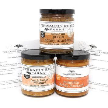 Terrapin Ridge Farms Honey Mustard Gourmet Sampler Pack Set of 3 Jars with Recipe Cards - Pecan Honey Mustard - Peach Honey Mustard - Pumpkin...