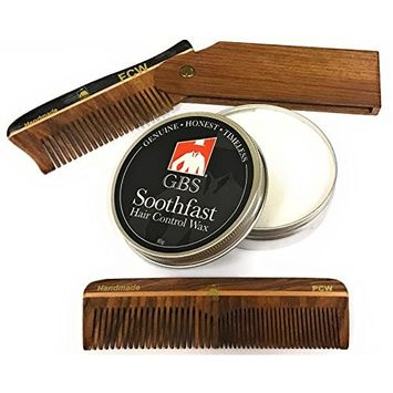 GBS Mens Hair Care Comb Set - Wood Switchblade Style Folding Comb All Fine + 5