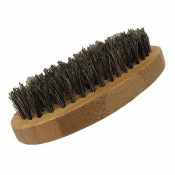 GBS Men's Beard Brush - Oval Military Style Bamboo Wood Handle with Boar Bristles