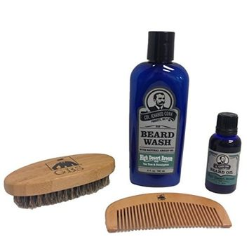 Colonel Conk Natural High Dessert Breeze Beard Wash and Beard Oil, Comes with GBS Wooden Beard Comb and GBS Beard Brush - Oval Military Style Bamboo Wood Handle with Boar Bristles.