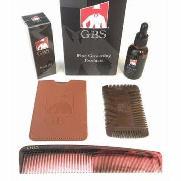 GBS Static Free Sandalwood Dual Comb For Shaping And Styling, Unscented Beard Oil, 7