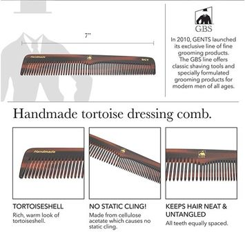 GBS Men's Handmade Anti-Static No Snag Sawcut Teeth Grooming Hair and Beard Comb Set - Dressing Head Comb, All Purpose Folding Comb, Pocket Comb, Mustache Comb All Hair Styles