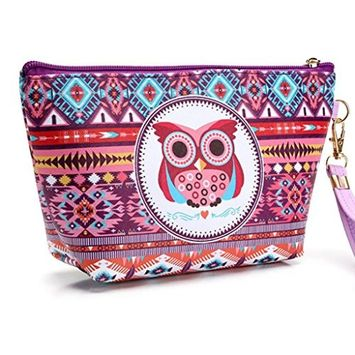 Women Cosmetic Storage Bag, Lotus.flower Portable Owl Zipped Up Cosmetic Case Pouch Toiletry Organizer Travel Makeup Clutch Bag