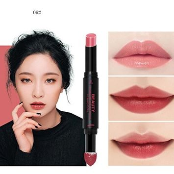 Hunputa Lipstick,Korean Dual Ended Long Lasting Waterproof Lip Pencil Jelly Lip Pen Moisturizing Matte Lipstick Lip Gloss Beauty Makeup Tool