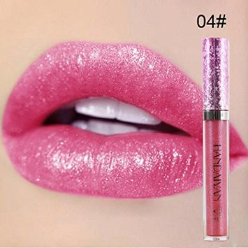 Hunputa Sexy Glitter Shimmer Lipstick Waterproof Long Lasting Liquid Velvet Matte Lipstick Makeup Lip Gloss Lip