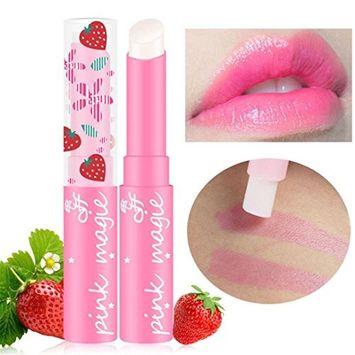Hunputa Lipstick,Lip Moisturizer,Vivid Colors,Smooth Lips,Korean Magic Strawberry Temperature Changing Color Lipstick Moisturizer Lip Balm Waterproof Lip Gloss Makeup