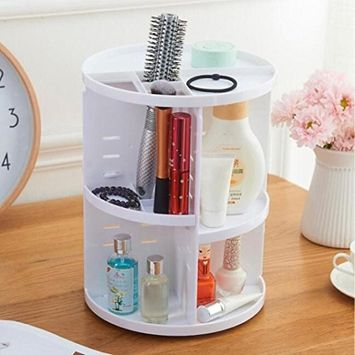 Lotus.flower Assemble 360 Degree Rotating Cosmetic and Accessories Display Shelf Spinning Storage Rack Makeup Multi-Function Organizer Box